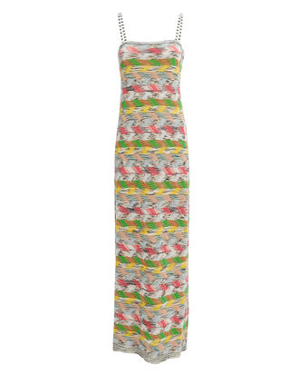 Zig Zag Maxi Dress, White/Green/Yellow, hi-res