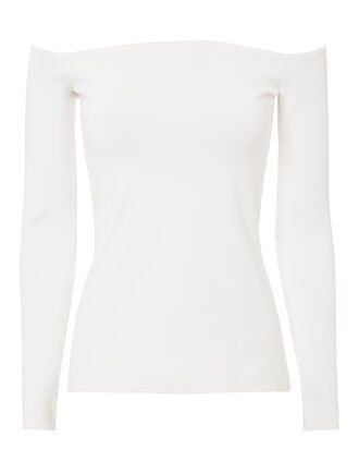 Raylen Off Shoulder White Top, WHITE, hi-res