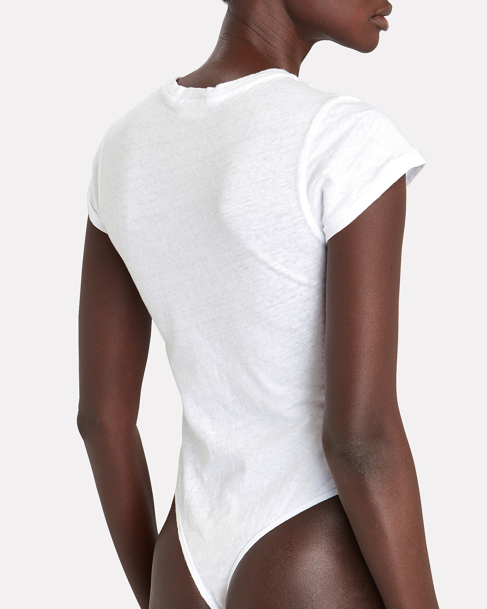 Crewneck T-Shirt Bodysuit, WHITE, hi-res