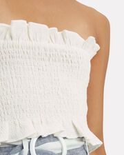 Shirred Strapless Crop Top, WHITE, hi-res