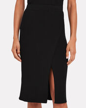 Deep Rib Wrap Skirt, BLACK, hi-res