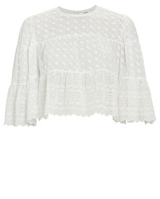 Tevika Embroidered Crop Top, WHITE, hi-res