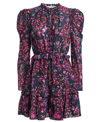 Prissa Tie Neck Floral Dress, MIDNIGHT/FLORAL, hi-res