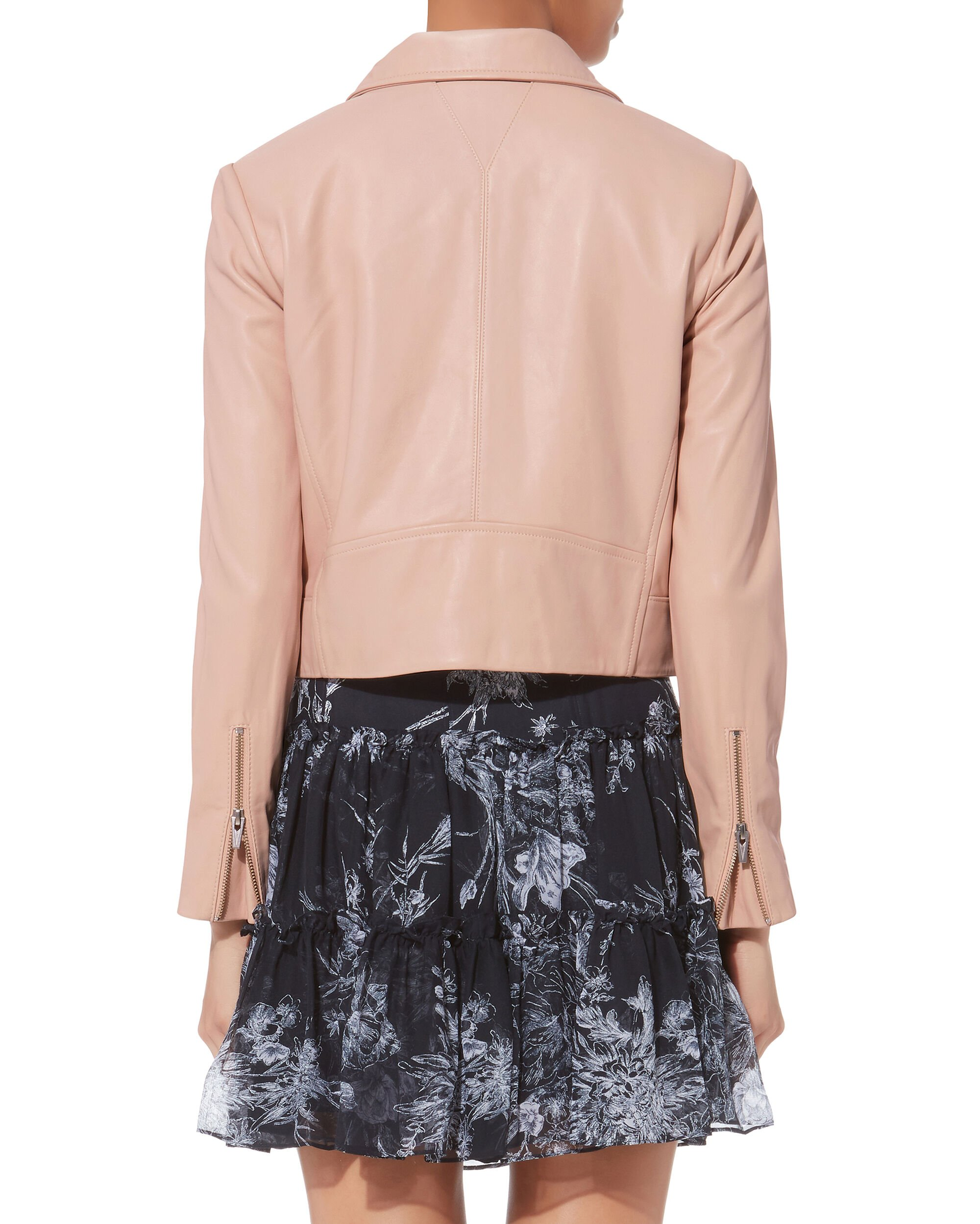 Cropped Boxy Leather Jacket, BLUSH, hi-res