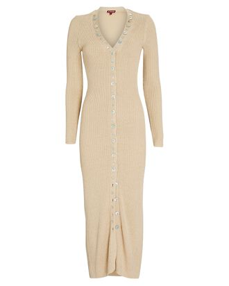 Nereus Rib Knit Midi Dress, BEIGE, hi-res