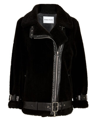 Colleen Oversized Teddy Moto Jacket, BLACK, hi-res