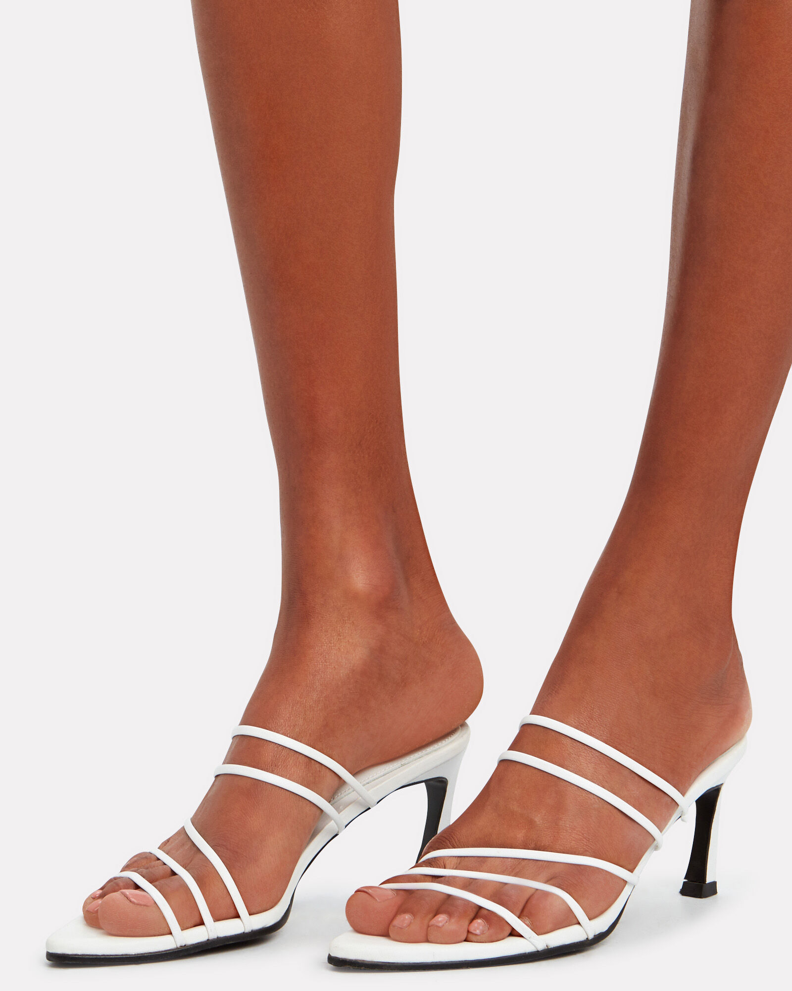 Five String Pointed Toe Sandals, WHITE, hi-res