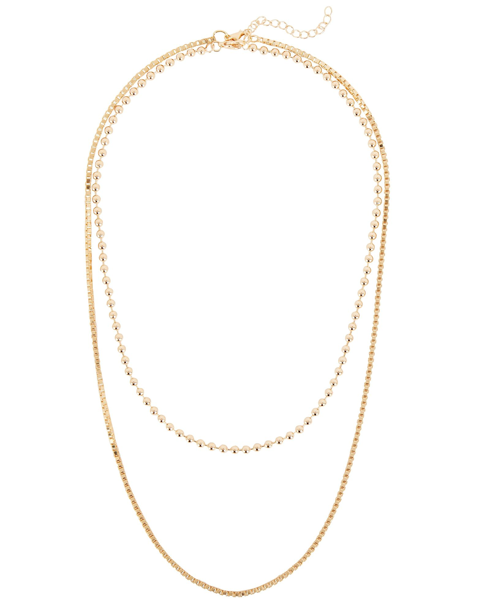 Paige Layered Chain Necklace, GOLD, hi-res