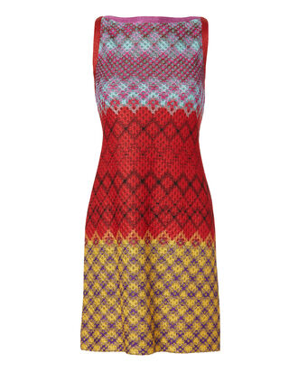 Multicolor Zig Zag Lamé Shift Dress, MULTI, hi-res
