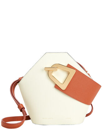 Mini Johnny Clutch, WHITE/ORANGE LEATHER, hi-res