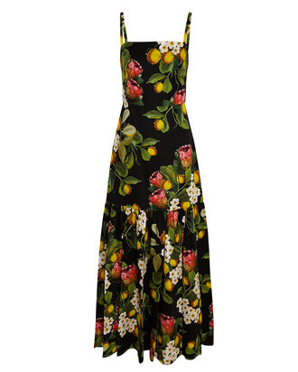 Cordelia Lemon Print Poplin Maxi Dress, BLACK, hi-res