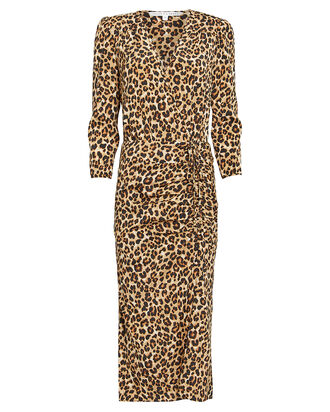 Arielle Leopard Silk Crepe Dress, BLACK/BEIGE LEOPARD, hi-res