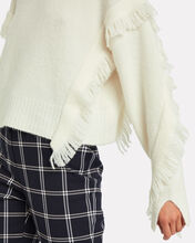 Fringe Wool-Blend Sweater, WHITE, hi-res