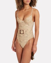Danielle Snake-Printed One-Piece Swimsuit, BEIGE, hi-res
