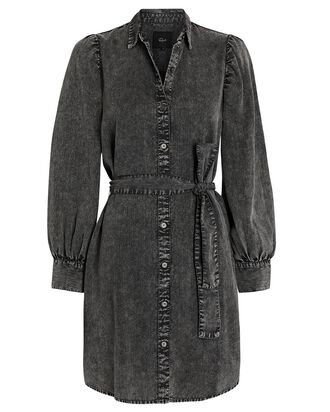 Adele Chambray Puff Sleeve Dress, BLACK, hi-res