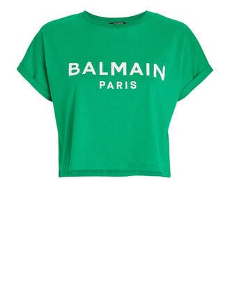 Cropped Logo Cotton T-Shirt, GREEN, hi-res