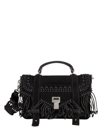 PS1 Fringe Suede Messenger, BLACK, hi-res