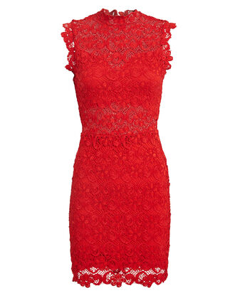Dixie Lace Mini Dress, RUBY, hi-res