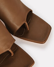 Leather Thong Slide Sandals, BROWN, hi-res