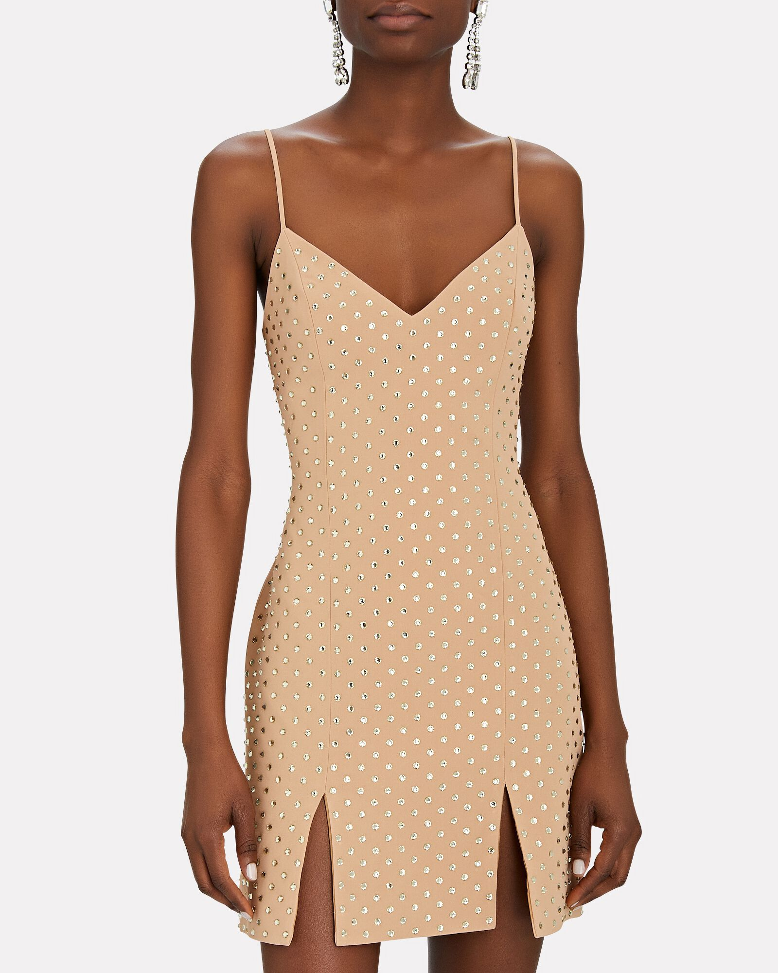 Crystal Embellished Mini Dress, BEIGE, hi-res