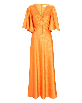 Rosalia Satin Jacquard Maxi Dress, ORANGE, hi-res