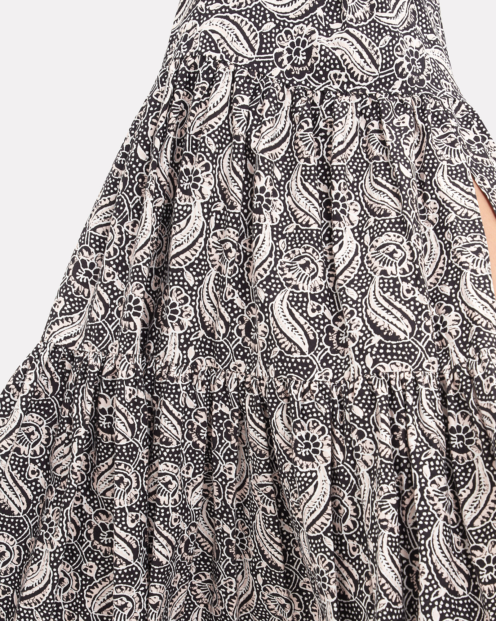 Serence Hibiscus Floral Poplin Maxi Skirt, BLACK, hi-res