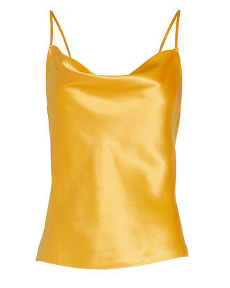 Fayette Cowl Neck Silk Camisole, ORANGE, hi-res