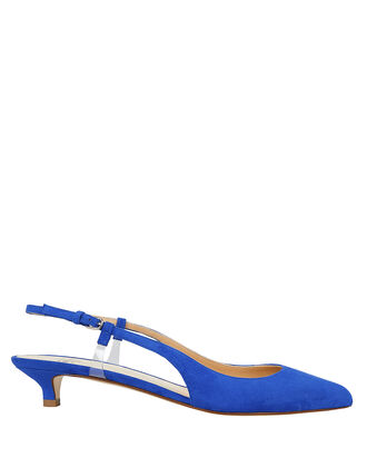 Blue Suede Slingback Kitten Pumps, BLUE-MED, hi-res