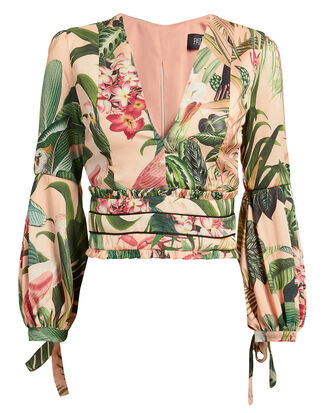 Paradise Printed Blouse, BLUSH/GREEN, hi-res