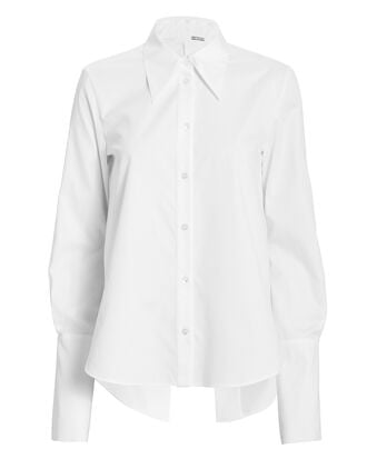 Poplin Open Back Shirt, WHITE, hi-res