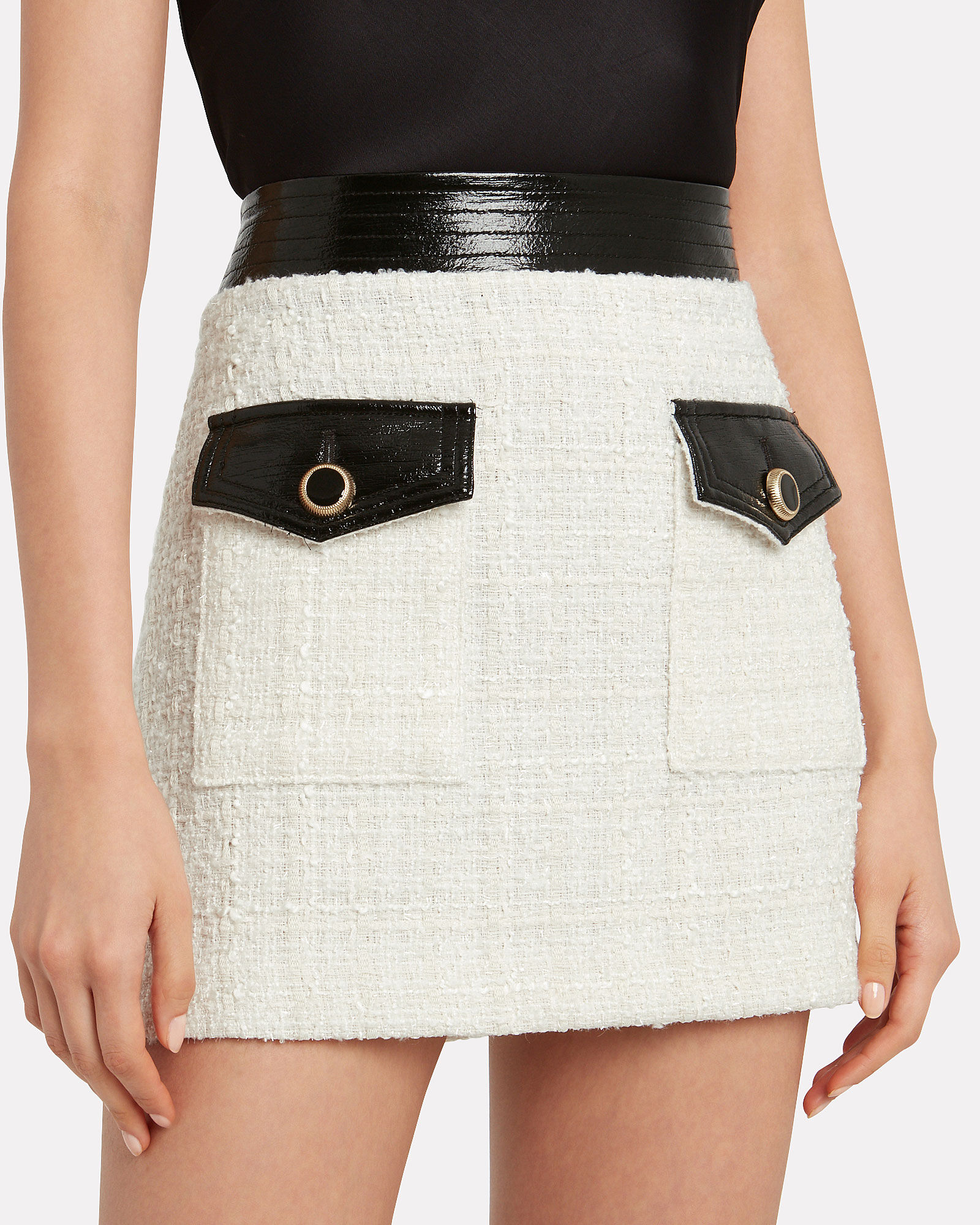 Lucy Vegan Leather-Trimmed Tweed Skirt, IVORY, hi-res