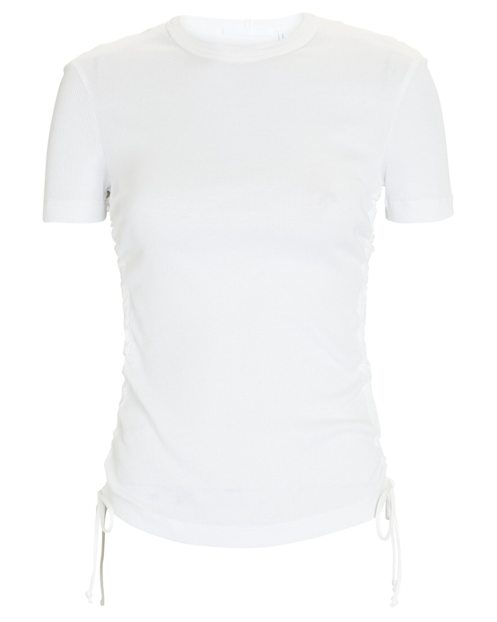 Double Rib Ruched Cotton T-Shirt, WHITE, hi-res
