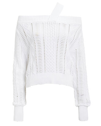 Beckett Blanc Off Shoulder Sweater, WHITE, hi-res