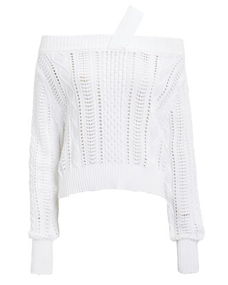 Beckett Knit Sweater, WHITE, hi-res