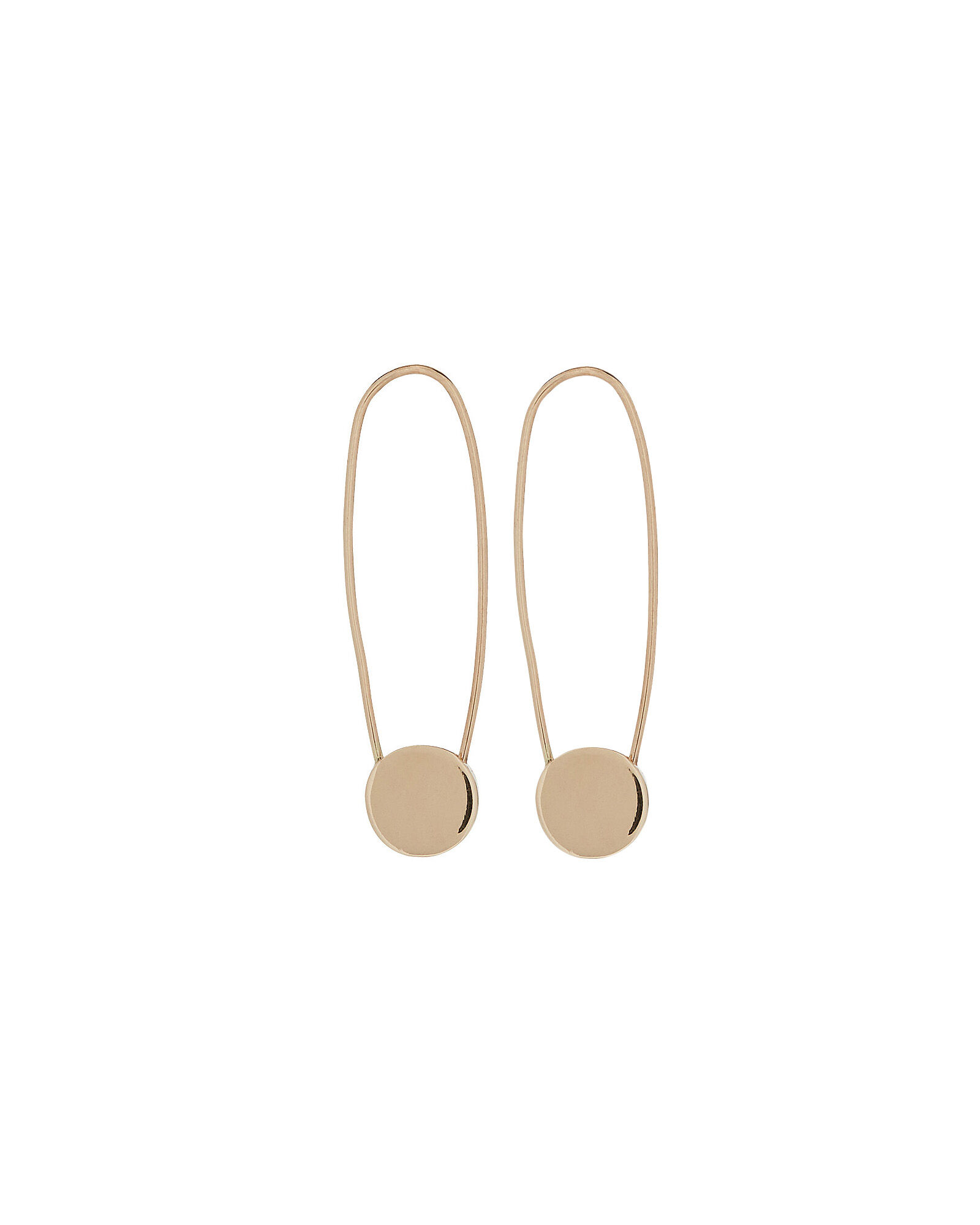 Circle Safety Pin Earrings, GOLD, hi-res
