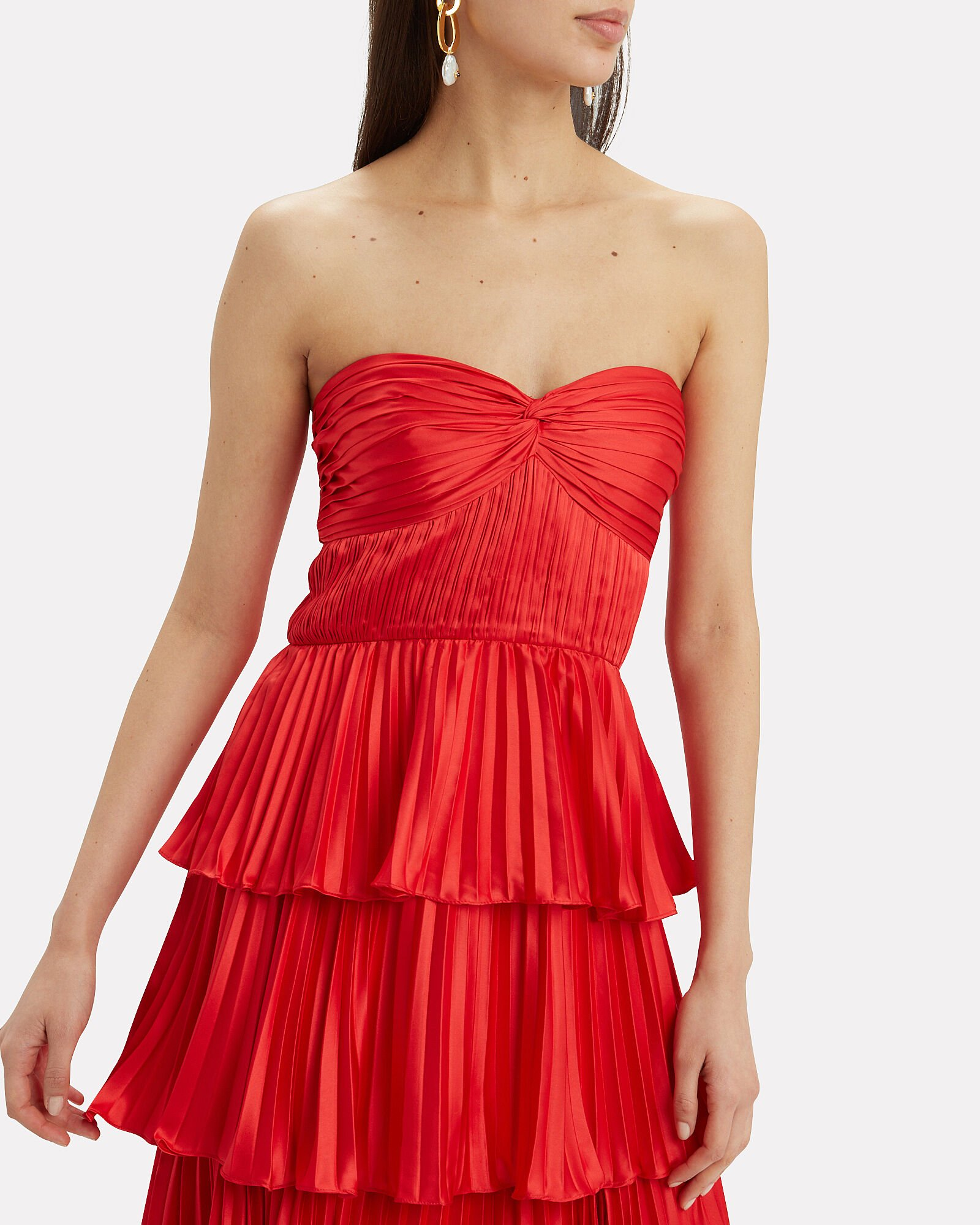 Cash Pleated Bustier Top, RED, hi-res