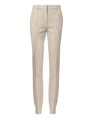 Tweed Slim Leg Trousers, BEIGE, hi-res
