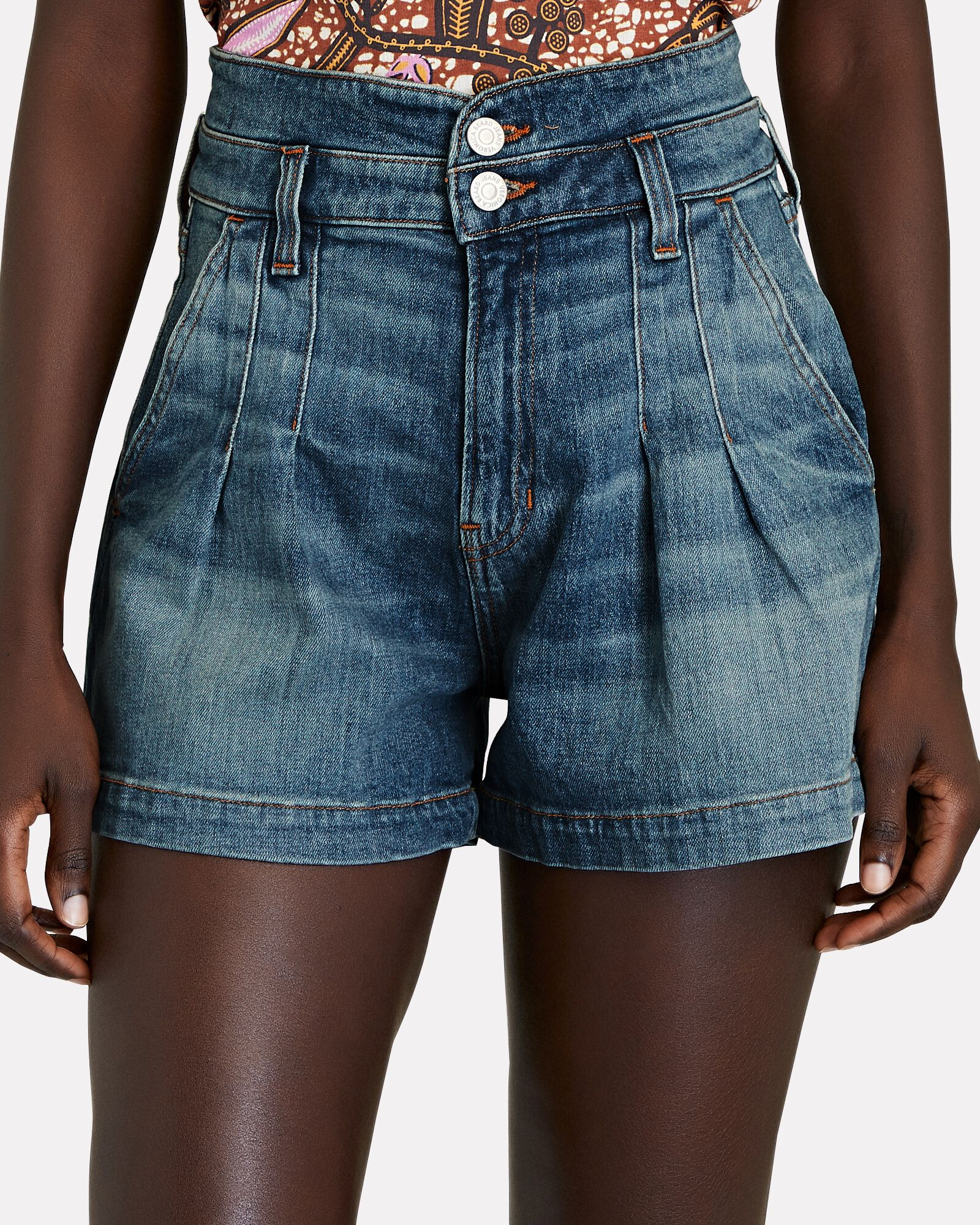 Jaylen Pleated Denim Shorts, WATERFALL, hi-res