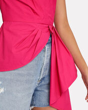 Asymmetric One-Shoulder Poplin Top, PINK, hi-res