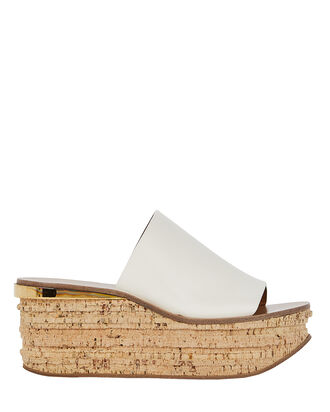 Camille Leather Wedge Slides, WHITE, hi-res
