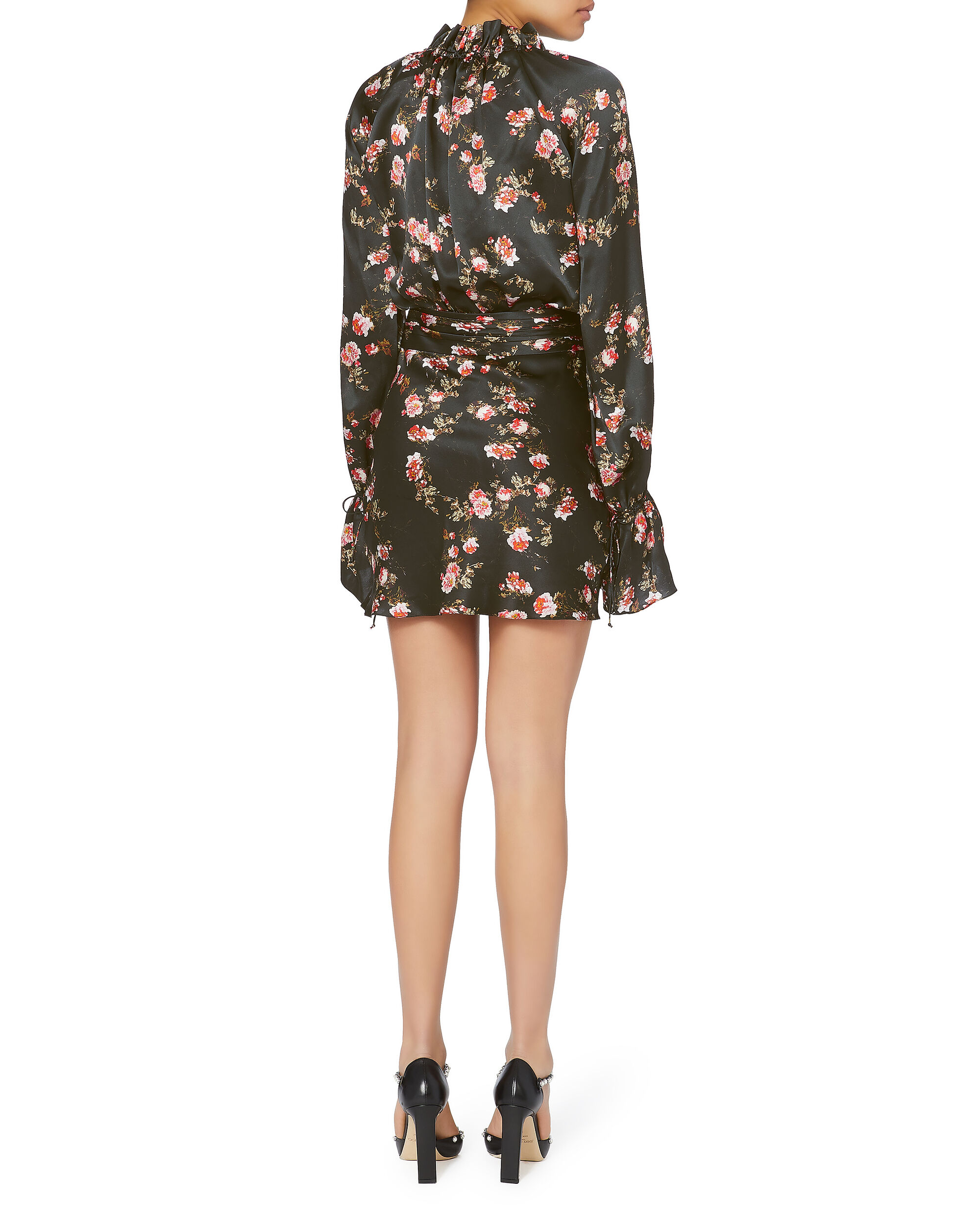 Black Rose Draped Mini Dress, PRI-FLORAL, hi-res