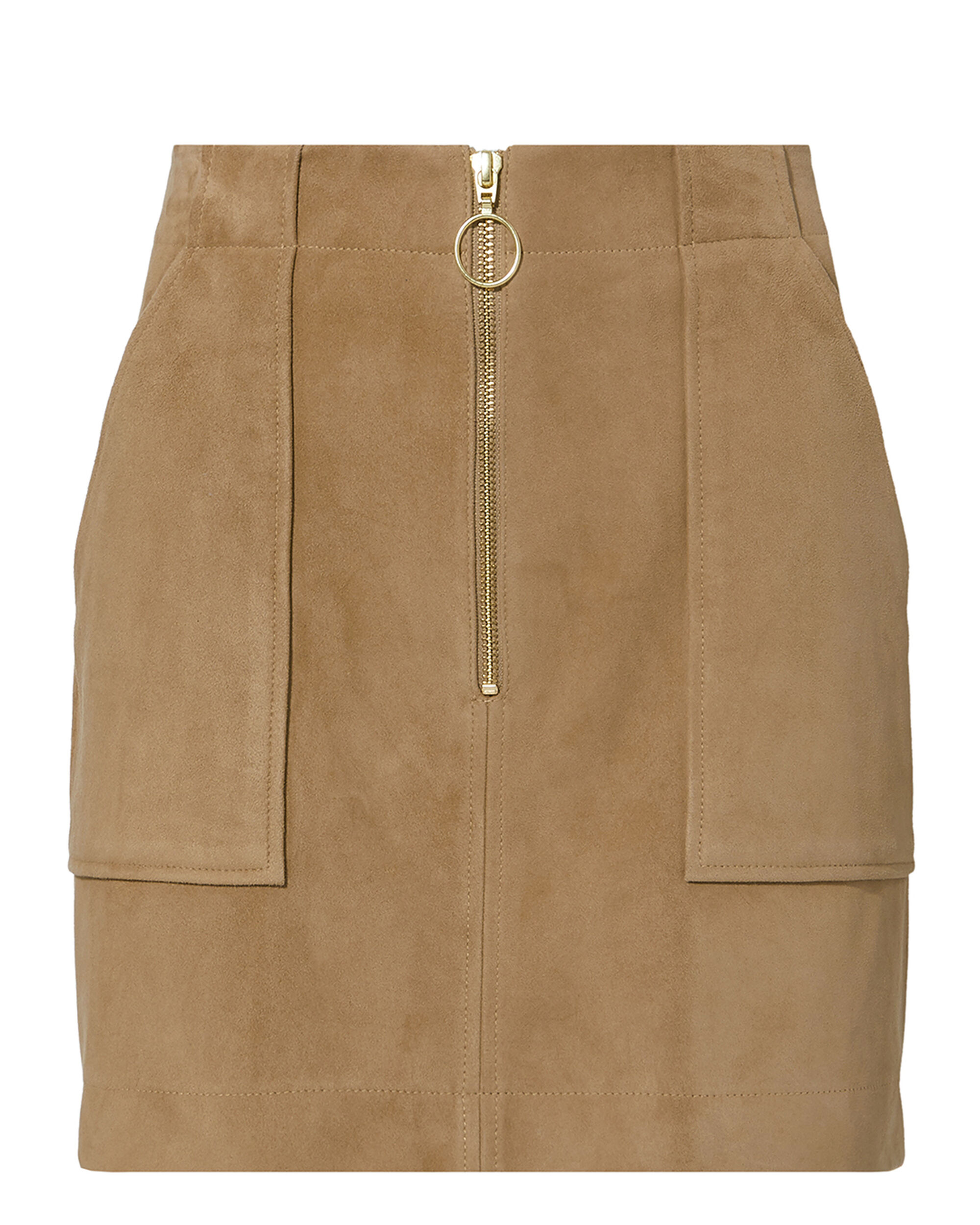 Magda Suede Mini Skirt, BROWN, hi-res