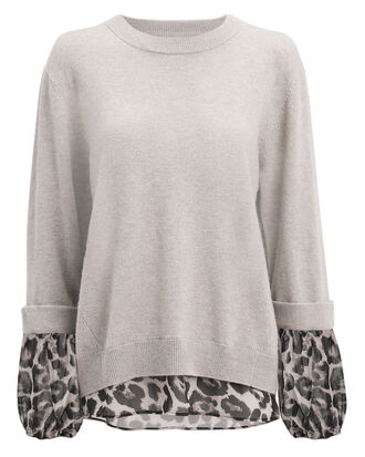 Leopard Layered Sweater, BEIGE/LEOPARD, hi-res