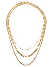 Golden Hour Layered Chain-Link Necklace, GOLD, hi-res