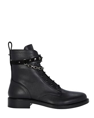Rockstud Leather Combat Boots, BLACK, hi-res