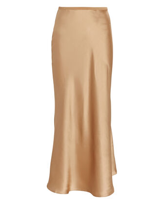 Bias Silk Charmeuse Midi Skirt, BROWN, hi-res