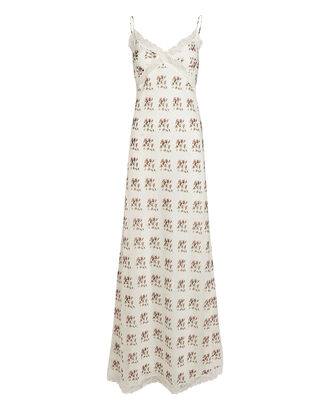 Rose Printed Silk-Cotton Slip Dress, , hi-res