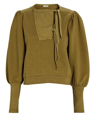 Alba Washed Cotton Fleece Sweatshirt, OLIVE, hi-res