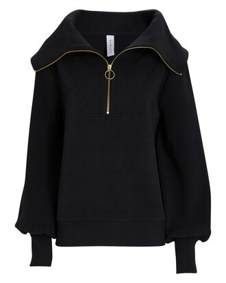 Vine Half-Zip Rib Knit Sweatshirt, BLACK, hi-res