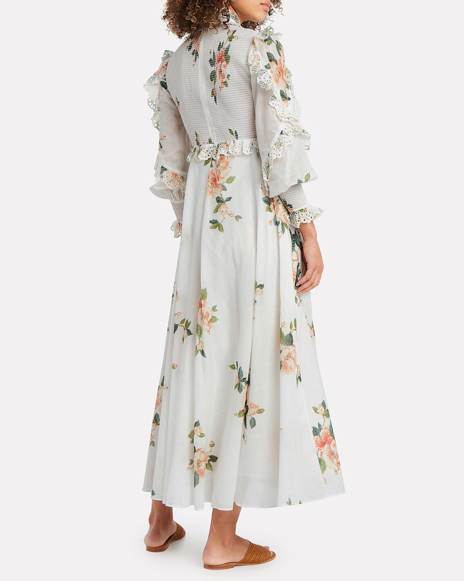 Kirra Shirred Floral Dress, IVORY, hi-res